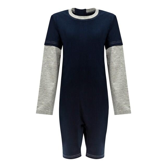 オムツいじり対策用つなぎパジャマ。障害児むけ介護用子供服。長袖半ズボン、ネイビー/グレー。