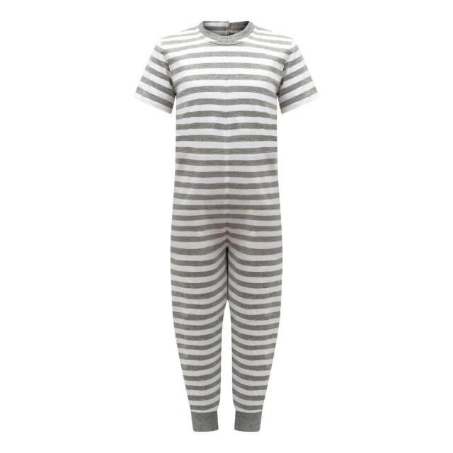 オムツいじり対策用つなぎパジャマ。障害児むけ介護用子供服。半袖長ズボン、グレーボーダー。