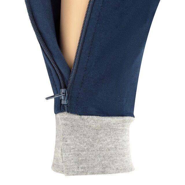 オムツいじり対策用つなぎパジャマ。障害児むけ介護用子供服。半袖半ズボン、ネイビー/グレー。