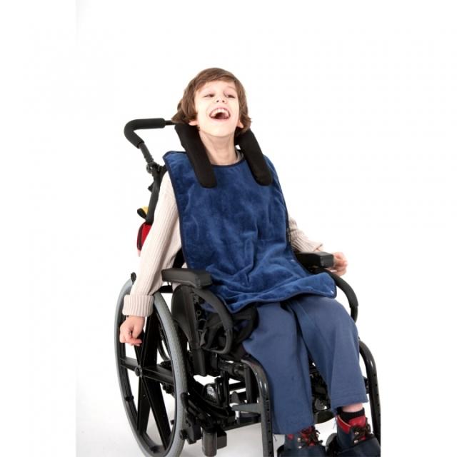 介護用、食事用エプロン。障害児、医療的ケア児むけ、ロングタイプ。