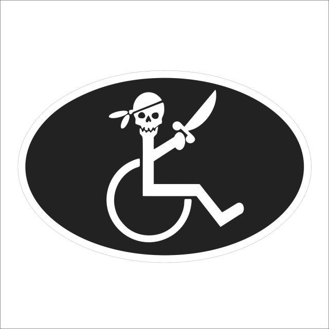 車用、かわいい、かっこいい、車いすステッカー。バリアフリー。海賊。障害児