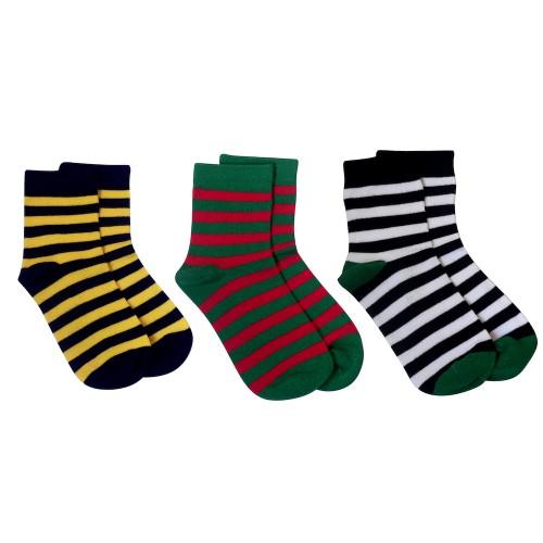 感覚過敏、触覚過敏に対応したシームレスソックス。子供用靴下。ストライプ3色セット。
