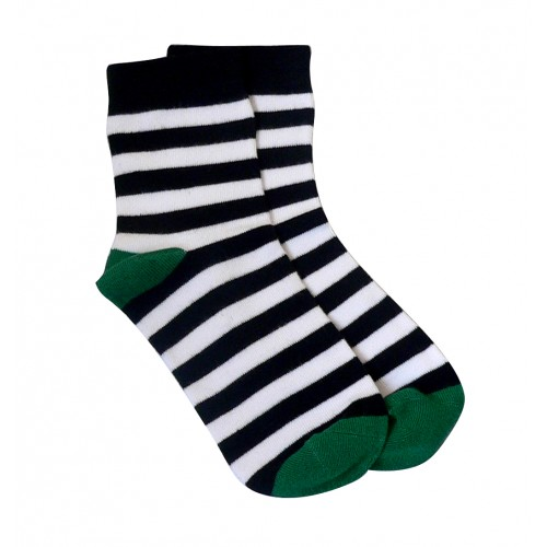 感覚過敏、触覚過敏に対応したシームレスソックス。子供用靴下。ストライプ、ブラックホワイト。