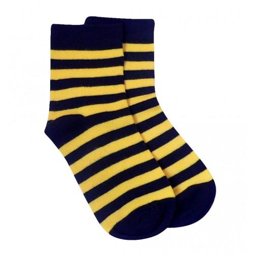 感覚過敏、触覚過敏に対応したシームレスソックス。子供用靴下。ストライプ、イエローブラック。