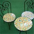 ガーデンテーブルセット(花柄/緑・水色)