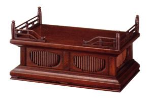 欅製位牌台 巾30×奥18×高11cm 欅製スリウルシ仕上