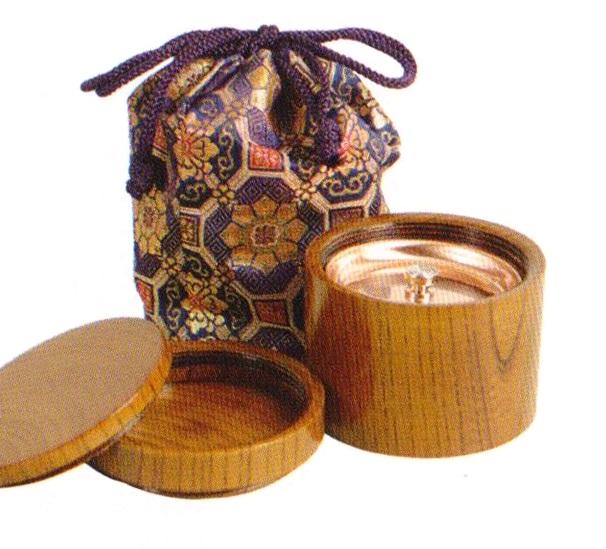 携帯用二段式丸香炉 金襴袋