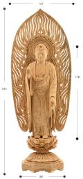 阿弥陀如来像 立像 身丈6寸 楠製  北山憲信作 2009年