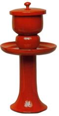 献茶湯器(1対)朱塗 小 高さ9寸(27cm)