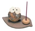 陶器香皿木の葉フクロウ