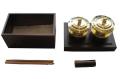 携帯用紫檀製二器箱(舎水器・塗香器入)巾178×奥111×高82mm  舎水器、塗香器、ネジ切式散杖、銅製水入付
