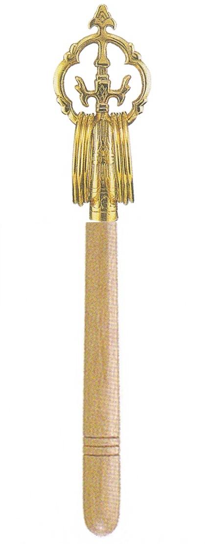 錫杖 並 丸型白木柄 20cm