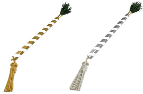 洒水枝(しゃすいし) 正絹房付 柄長7寸(21cm) 金又は銀