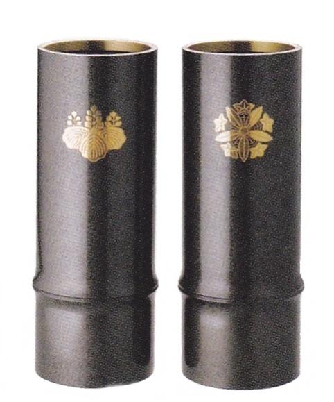 竹形花立 口径9.4cm 高さ26cm 1対
