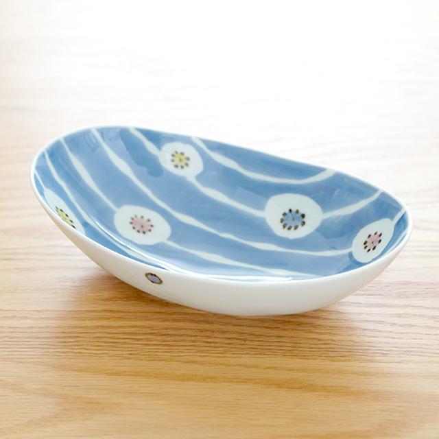 和食器 有田焼 通販 藍土な休日 藍土 そうた窯 惣太窯 楕円 ボウル 鉢 浅鉢 花 染付 かわいい