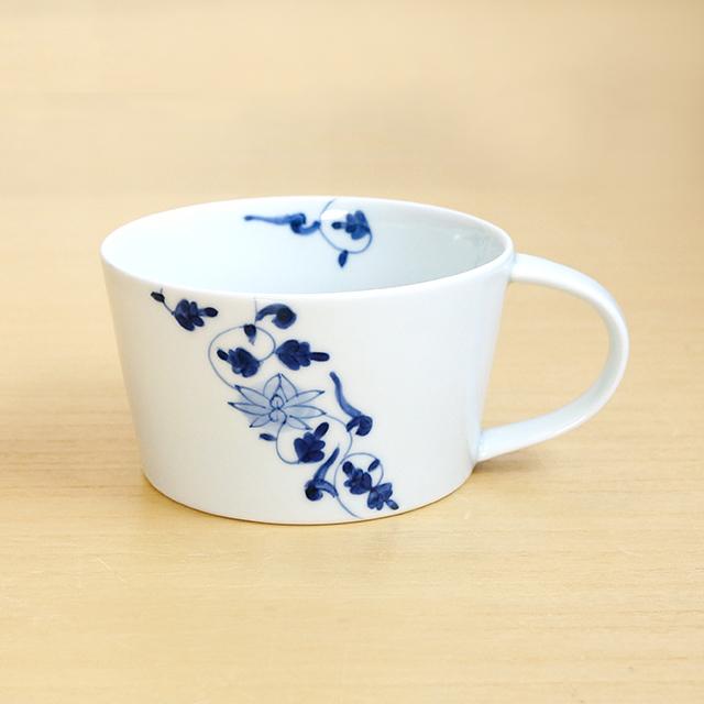 【和食器通販ショップ 藍土な休日】 有田焼 そうた窯 惣太窯 藍土オリジナル スープカップ 帯花唐草