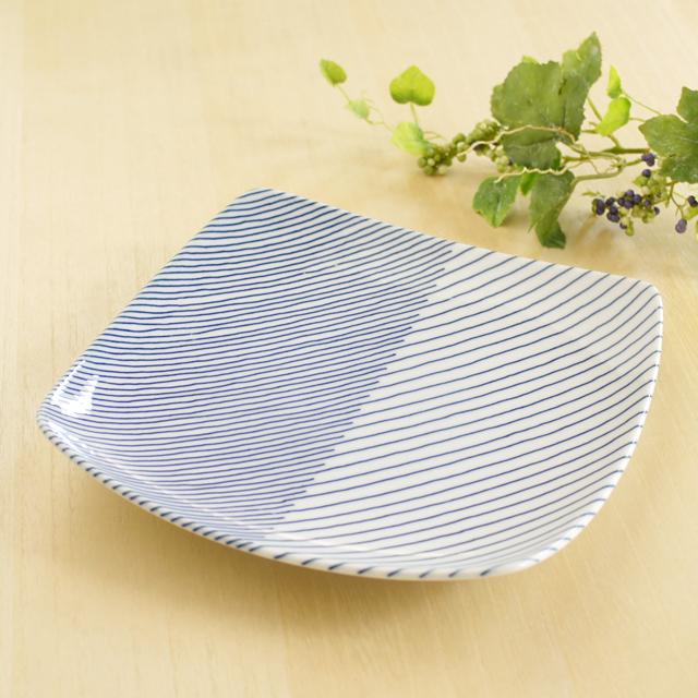 和食器通販ショップ 藍土な休日  波佐見焼・白山陶器 重ね縞角皿(大)