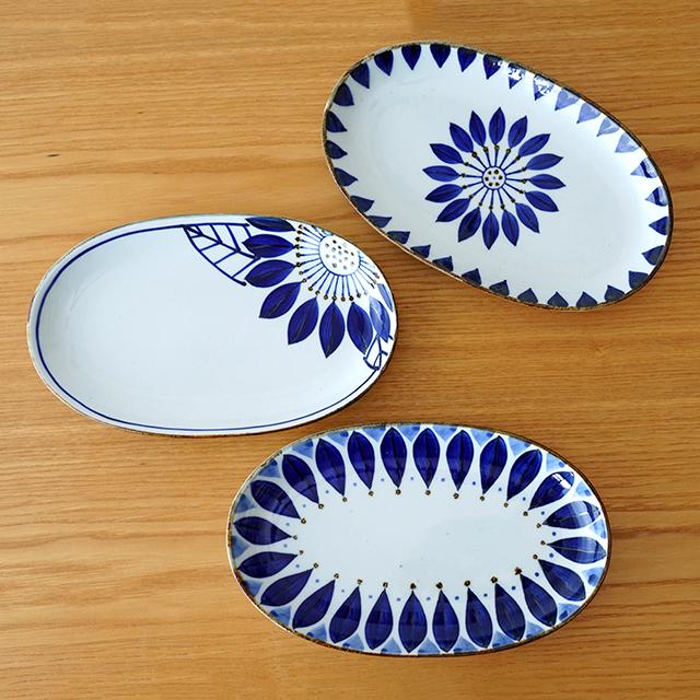 波佐見焼 翔芳窯 楕円皿 北欧風 ブルーフラワー 藍花 【和食器通販ショップ 藍土な休日】