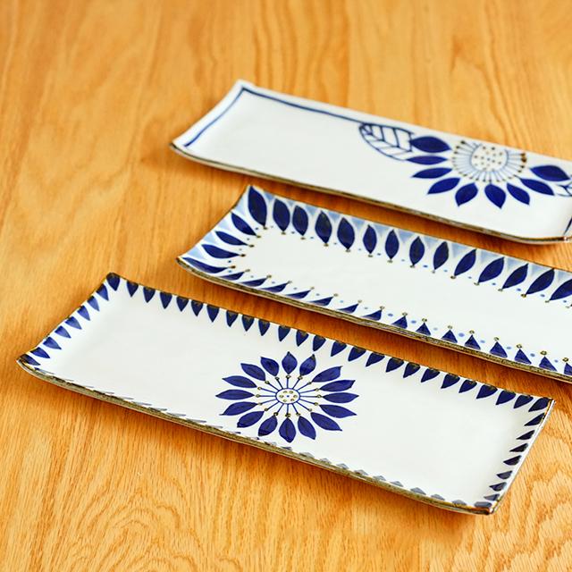 波佐見焼 翔芳窯 サンマ皿 さんま皿 長皿 角皿 北欧 ブルー 【和食器通販ショップ 藍土な休日】