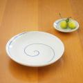 【和食器通販ショップ藍土な休日】田森陶園のシンプルな丸皿! うず刷毛5寸皿