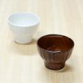【和食器通販ショップ 藍土な休日】波佐見焼 利左エ門窯 しのぎカップ(ホワイト&アメ釉)