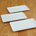 波佐見焼 一真窯 しのぎ 白磁 白い器 角皿 長角皿 テーブルコーディネート