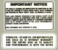 1976-78 Honda CR125 1976-77 CR250 Elsinore Warningデカール(2pcs)