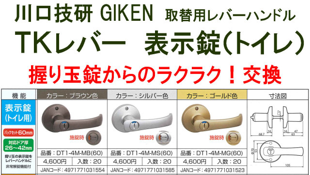 GIKEN 川口技研 握り玉 取替用TKレバーハンドル 表示錠(トイレ、WC錠)