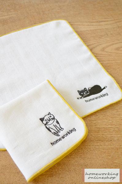 【2点までメール便可】パイル&ガーゼタオルハンカチ(ねむりネコ/すわりネコ)