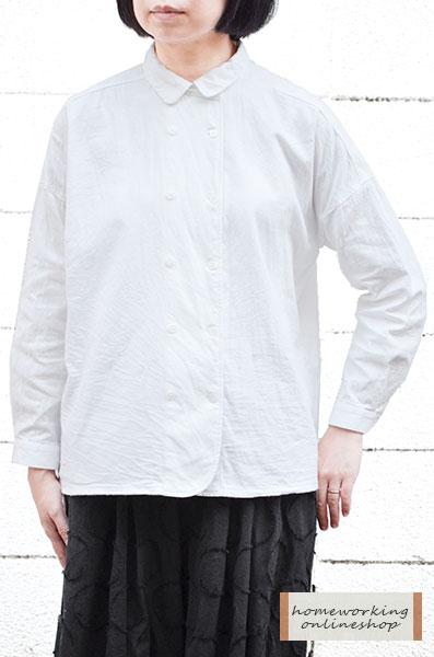 【メール便送料無料】フランネルコットン ダブルボタンブラウス(全2色)