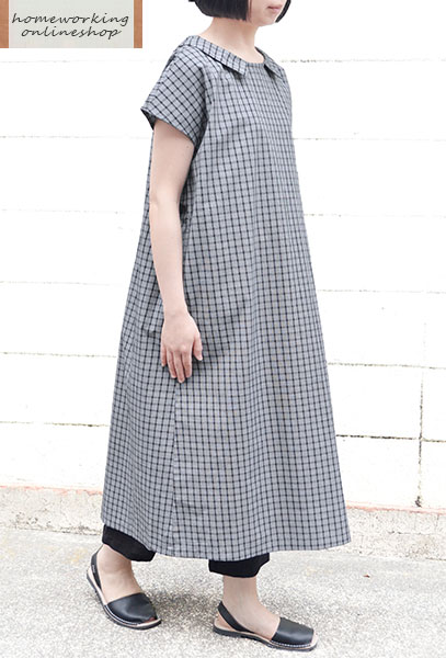 【メール便送料無料】チェックフラットカラーワンピース(全2色)