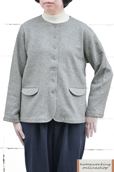 圧縮ウール ノーカラージャケット(全3色)