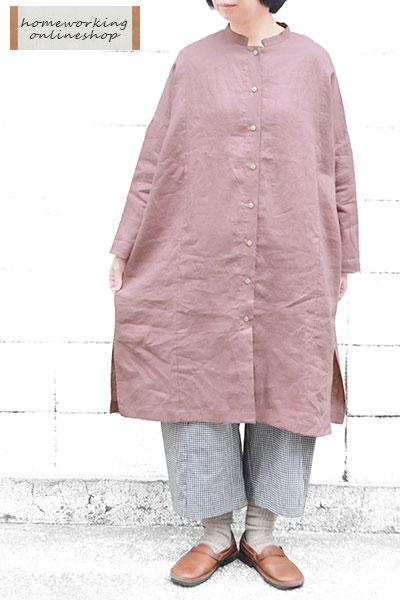【送料無料】フレンチリネンキャンバス羽織ワンピース(全2色)