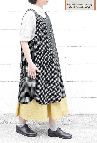 【メール便送料無料】ドットスリットエプロンワンピース(全2色)