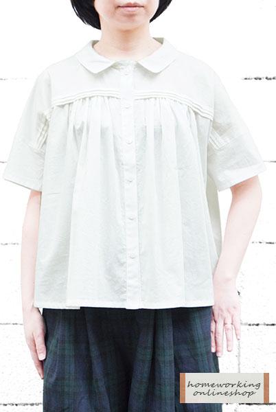 【メール便送料無料】コットンリネンオーガニックローン タックギャザーブラウス(全3色)