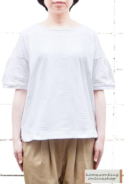 【メール便送料無料】チェックジャガードタックスリーブプルオーバー(全2色)