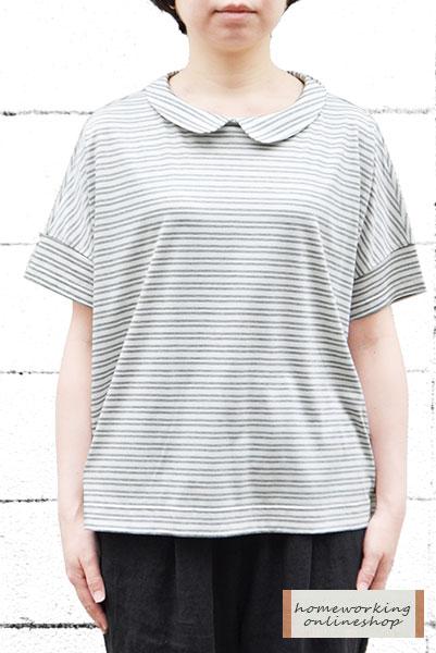 【メール便送料無料】ダブルラインボーダー衿付きプルオーバー(全2色)