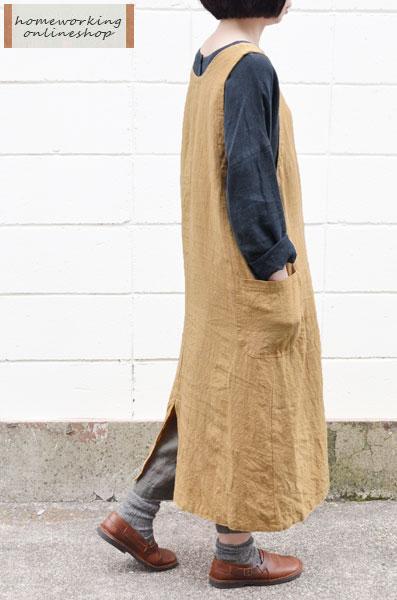 【オンライン・直営店限定】【送料無料】吉美の衣リネン ジャンパースカートエプロン(全3色)