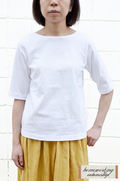 【メール便可1点まで】Dana Faneuil ボートネック5分袖プルオーバー(全4色2サイズ)