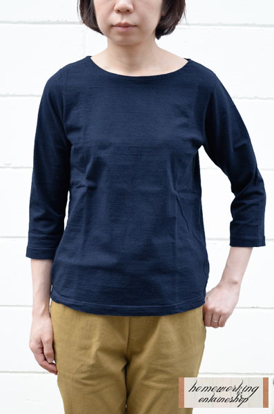 【メール便可1点まで】Dana Faneuil ムラ糸ボートネック7分袖Tシャツ(全5色2サイズ)【再入荷】
