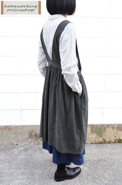 【ポイント2倍】ビエラシャンブレー起毛エプロンワンピース(全2色)