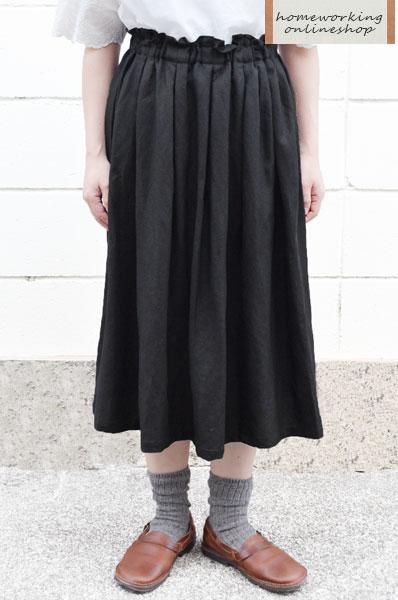 【SALE再値下げ40%OFF】【送料無料】リネンレーヨン タックスカート(ブラック)