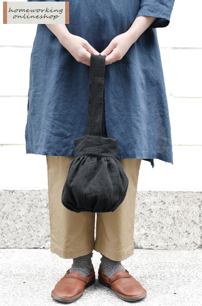 吉美の衣 ギャザーバッグ(ブラック)