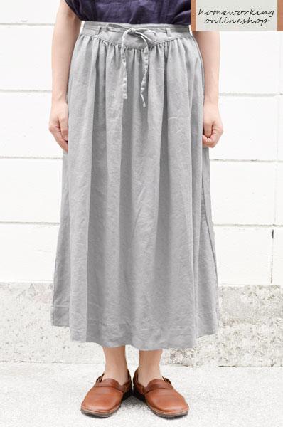 【SALE再値下げ40%OFF】【送料無料】ライトキャンバスリネン ギャザースカート(全3色)