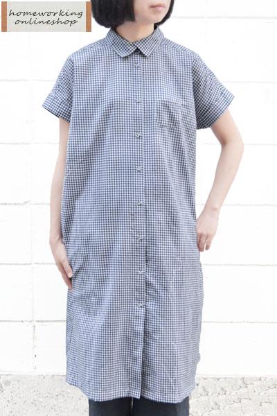 【送料無料】コットンミニギンガム シャツワンピース(全2色)