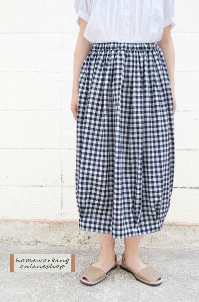 【SALE再値下げ40%OFF】コットンギンガムチェック フィグスカート(全2色)