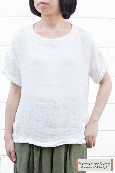 【送料無料】1/60リネン二重織 サイドポケットプルオーバー(全3色)