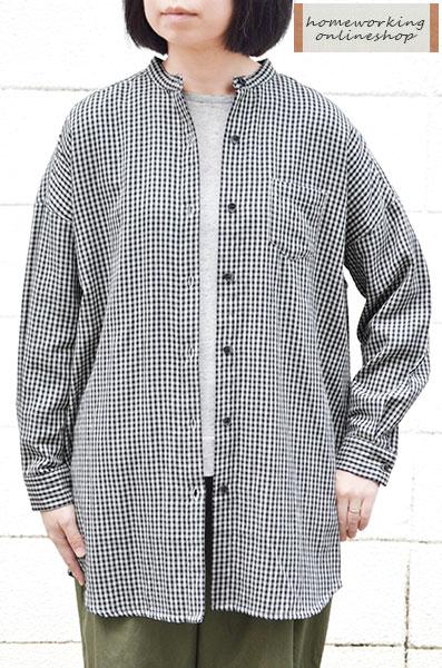 【ゆうパケット可_1点送料無料】ダブルガーゼギンガム ワイドロングシャツ(全2色)