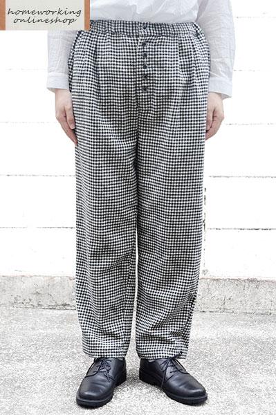 起毛ギンガム フロントボタンパンツ(全2色)