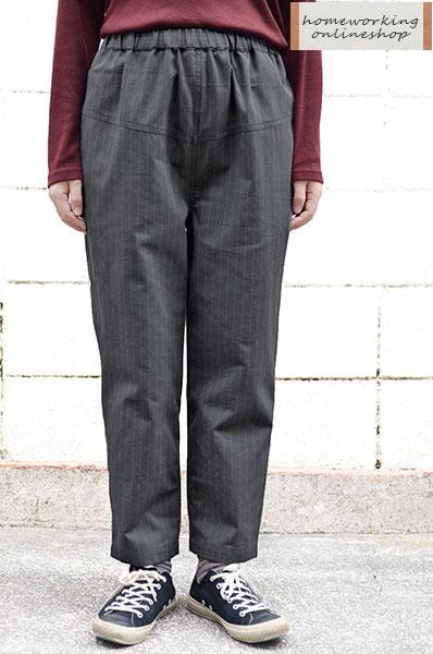 【SALE最終値下げ50%OFF】コットンストライプイージーテーパードパンツ(グレイ)